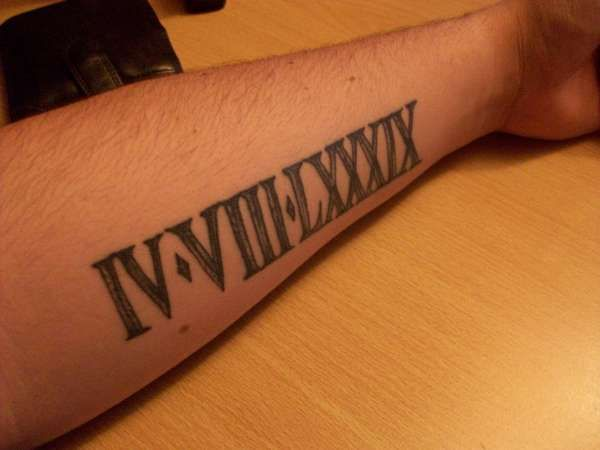 610cc4268 Date of birth in roman numerals for each of my boys; one on each forearm. # tattoos #ink not sure on my forearm.
