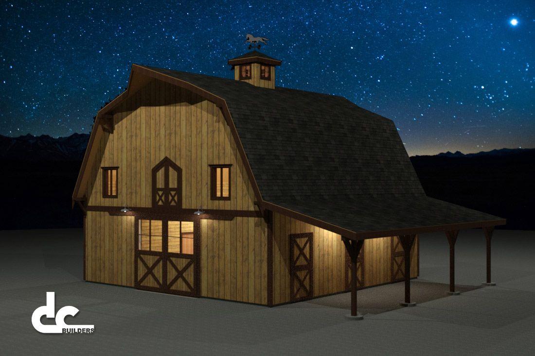36 Ft Gambrel Horse Barn Floor Plans Dc Building Gambrel Barn Barn Style House Barn Builders