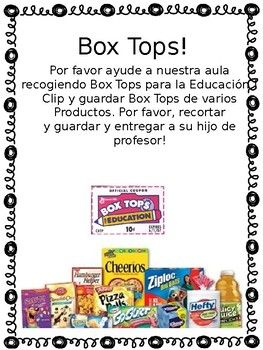 Box Top letter to parents SPANISH