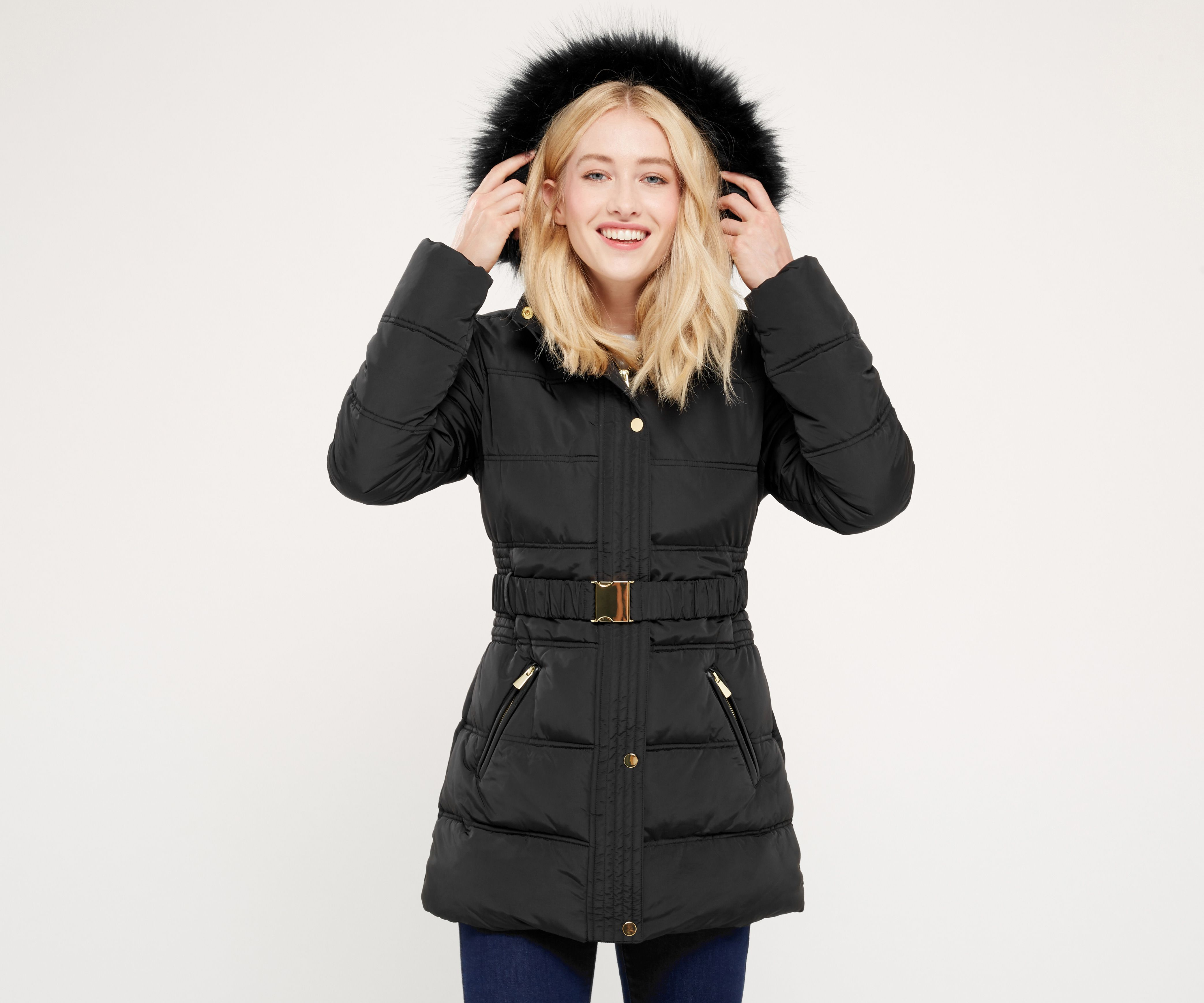 Oasis, MABEL PADDED COAT Black 1 | 2016/17 new season long puffer ...