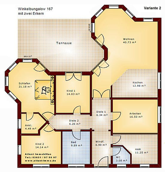 Winkelbungalow 167 mit 2 erkern einfamilienhaus neubau for Grundriss neubau einfamilienhaus