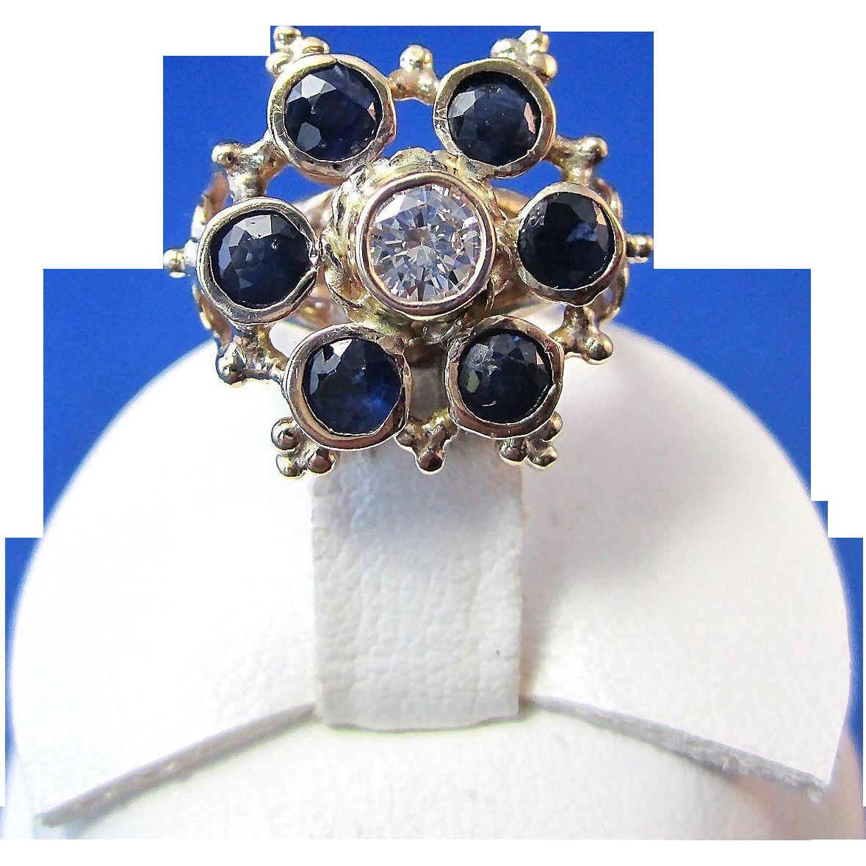 Sapphire & Diamond Antique Victorian Engagement Wedding