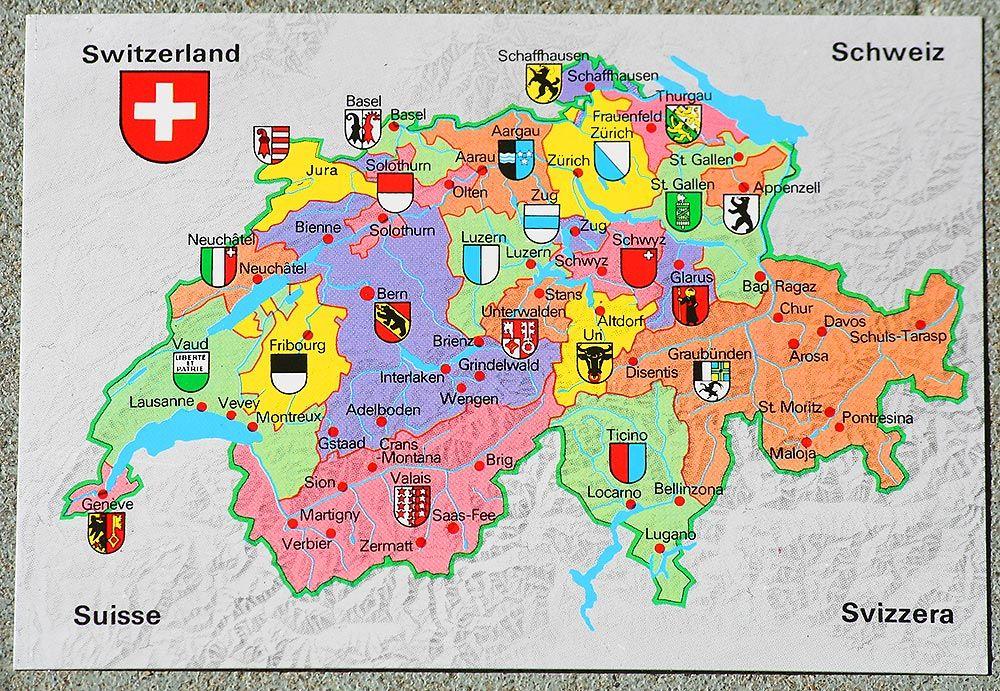 Map Of Switzerland Karte Schweiz Landkarte Schweiz Schweiz