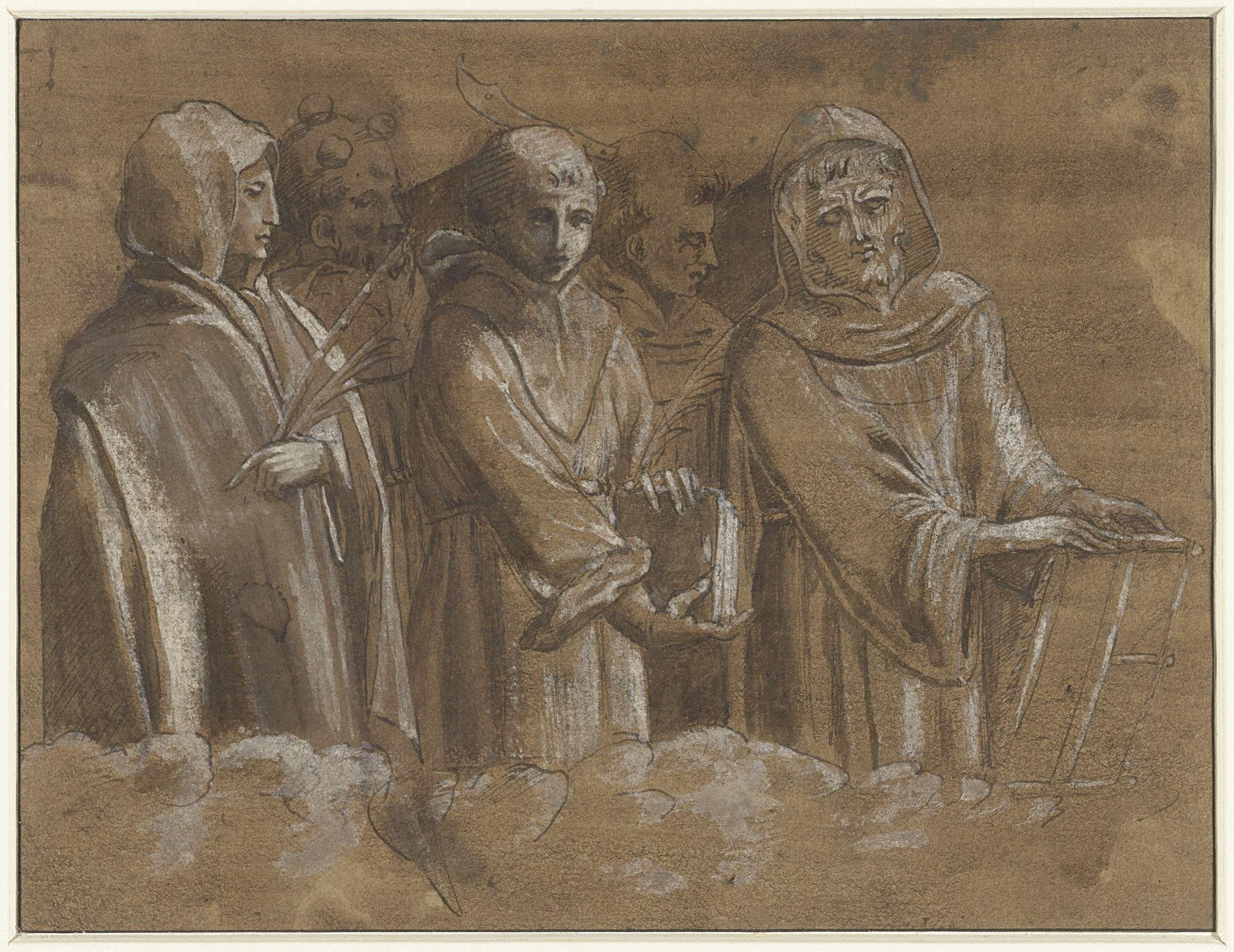 Anonymous | Figuren van martelaars boven een wolkenrand, Anonymous, 1500 - 1510 |
