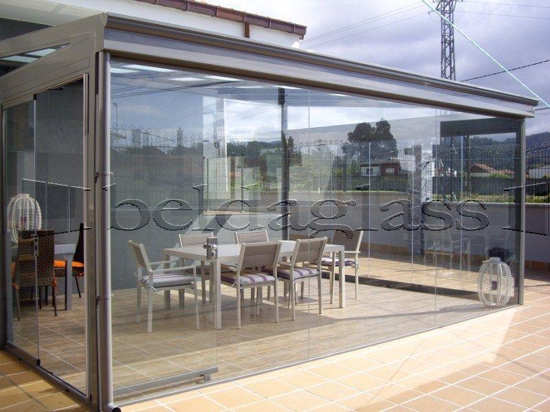 Cerramiento de terraza compuesto de techo movil deslizante - Cortinas para puertas de cristal ...