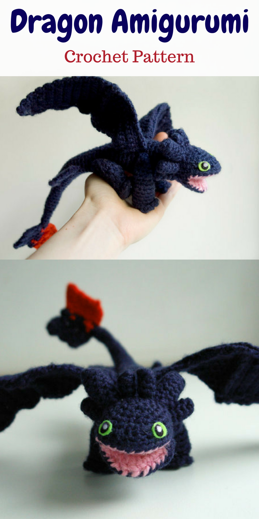 Crochet pattern for Toothless in PDF format. You can create your own ...