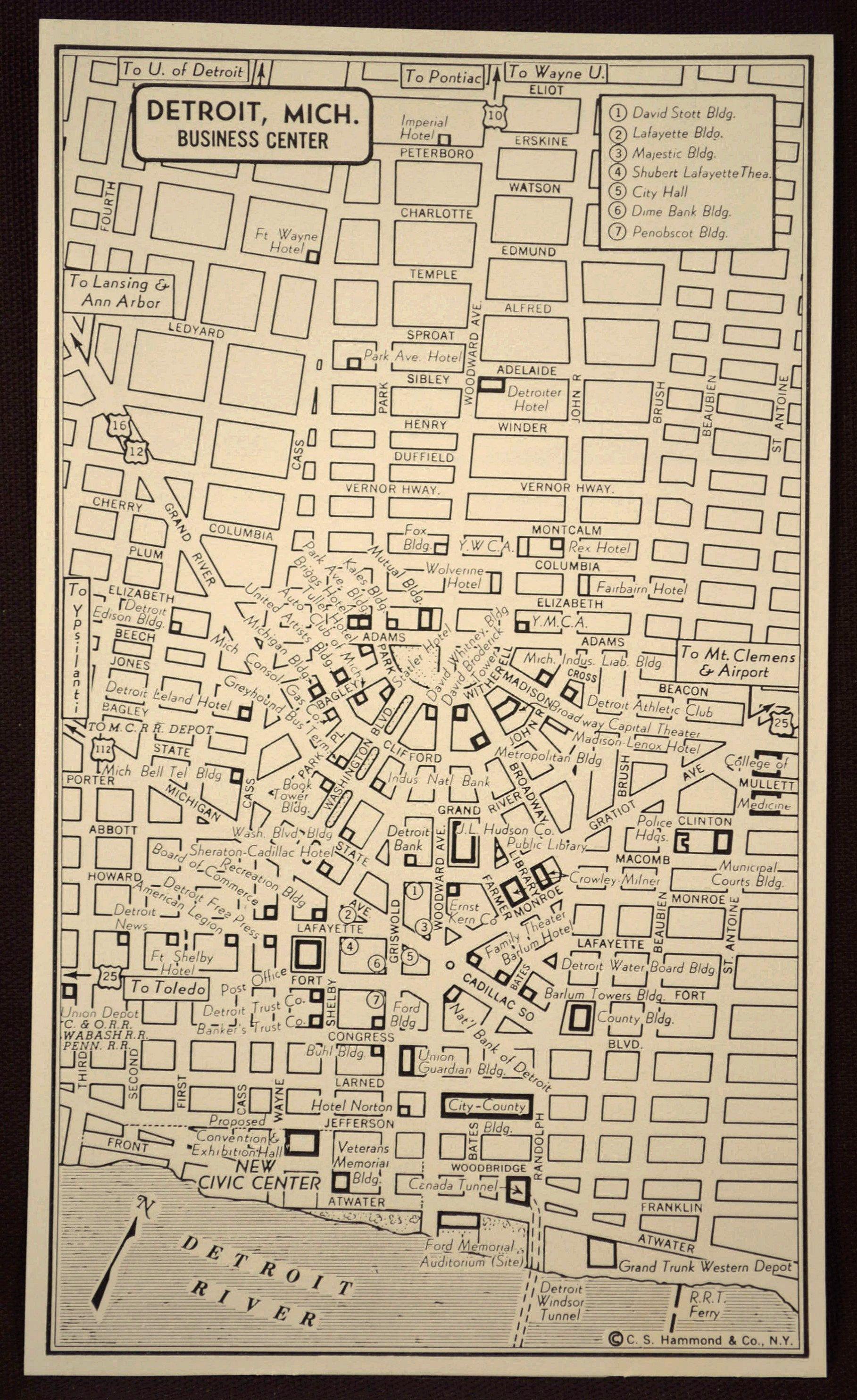 Detroit Map Detroit Street Map Vintage Wall Art Original   Map Wall ...