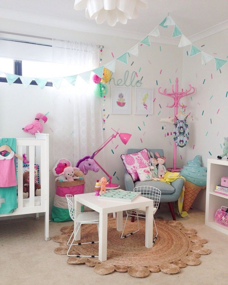 buntes kinderzimmer m dchen einhorn deko design nursery girls louisa zimmer pinterest. Black Bedroom Furniture Sets. Home Design Ideas
