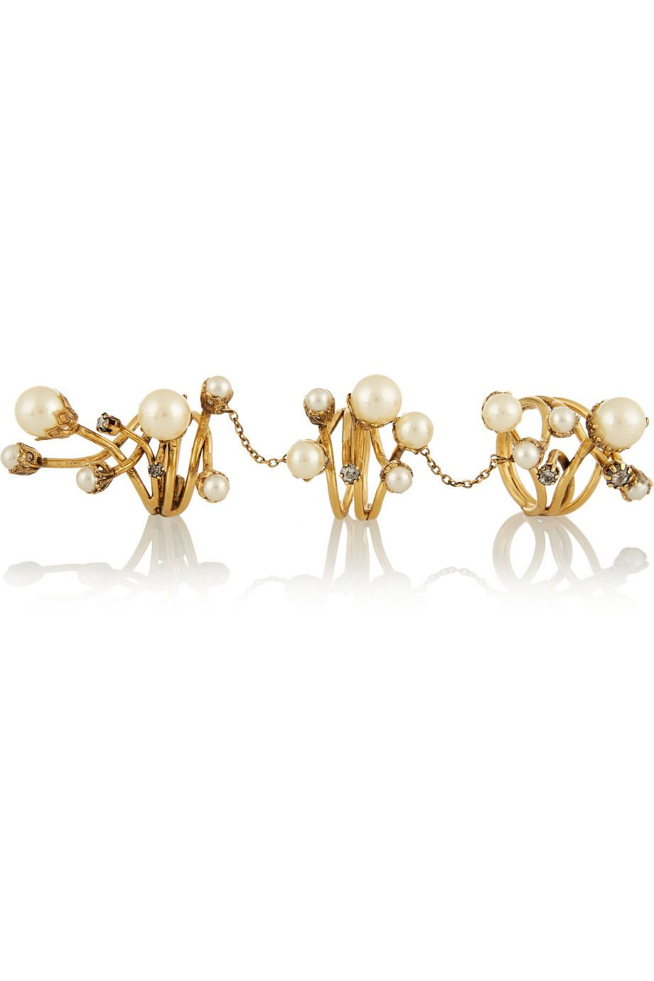 Erickson Beamon|Stratosphere gold-plated, faux pearl and Swarovski crystal ring|NET-A-PORTER.COM
