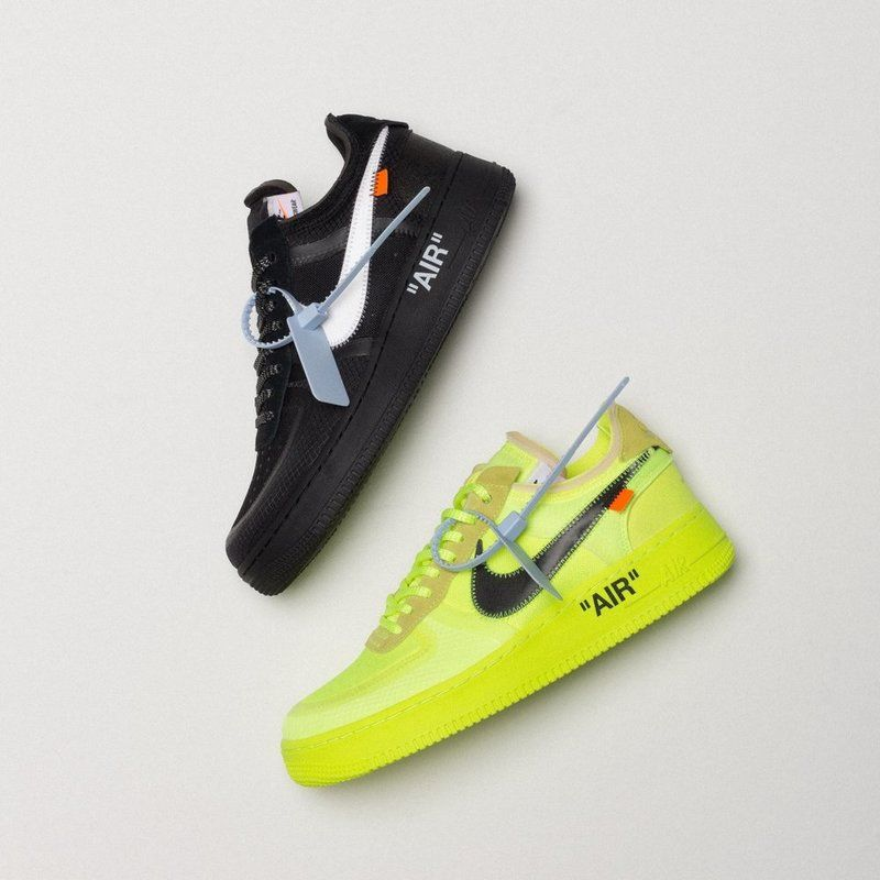 reputable site 7f4b6 e3165 Off-White × Nike Air Force 1 Black & Volt | Sneakers in 2019 ...