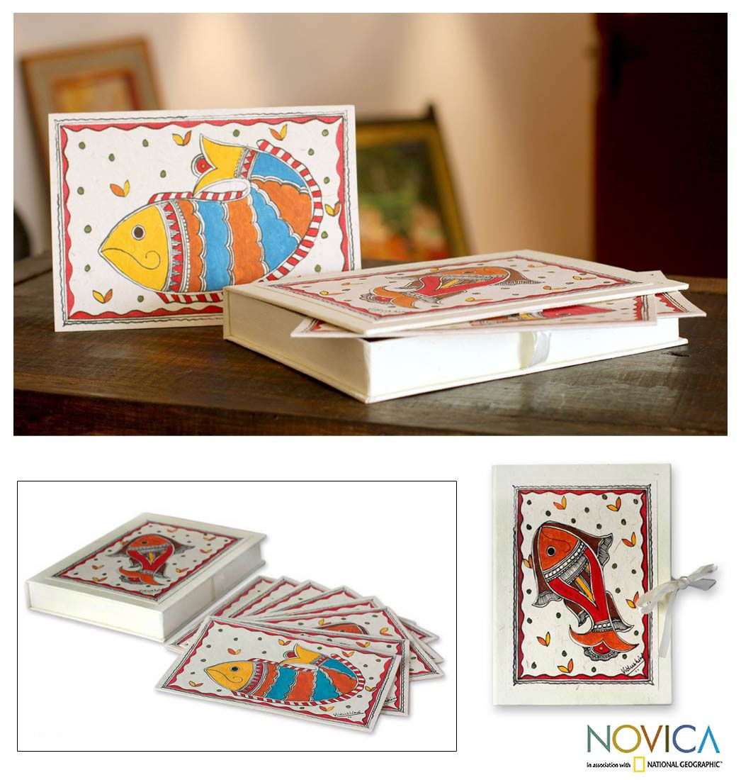 Madhubani greeting cards boxed handpainted set of 8 fish of india m4hsunfo