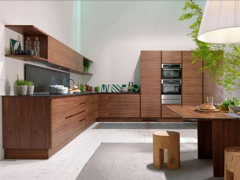 Custom Wood Veneer Kitchen Without Handles LA CUCINA By Riva 1920 | Design  Matteo Thun