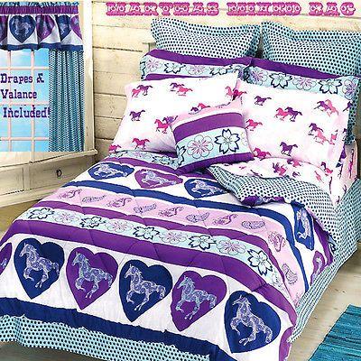 8pc Girls Western HORSE PAISLEY PONY Purple Blue Flower ...