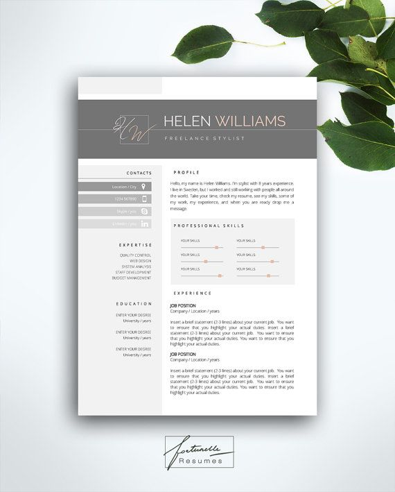 Resume Template 3 page / CV Template Cover by FortunelleResumes - cv vs resume