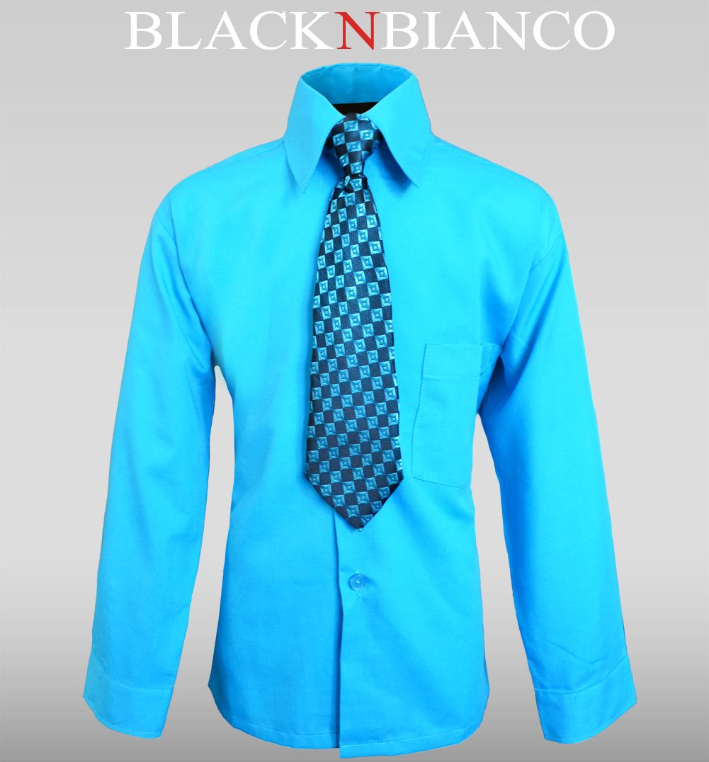 704fe7c5c1a Boys Turquoise Dress Shirt with matching Tie by Black n Bianco