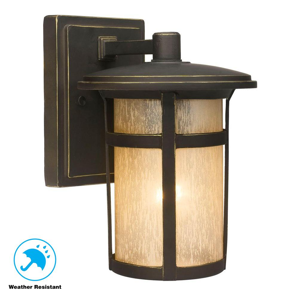 Home Decorators Collection Round Craftsman 1 Light Dark Rubbed Bronze Outdoor Wall Lante Craftsman Outdoor Lighting Outdoor Light Fixtures Outdoor Wall Lantern