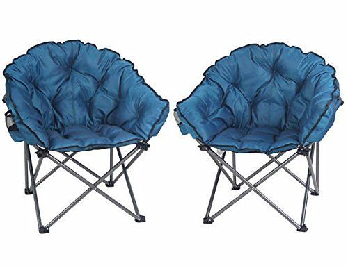 Padded Club Folding Camping Chair 2pack With Drink Holder With Carrying Bag Ideal Even For Outdoor Seating Folding Camping Chairs Club Chairs Furniture Pads
