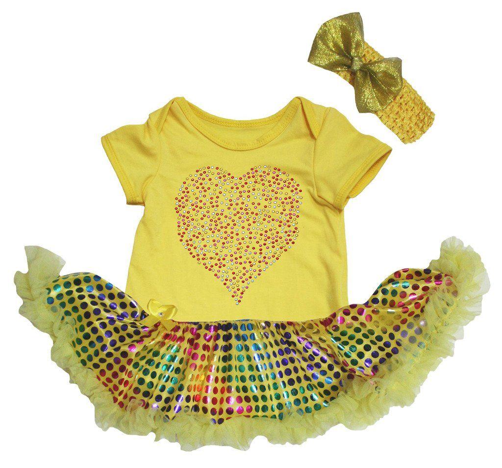 Birthday 1ST White Rainbow Dot Bodysuit Girl Bling Blue Sequin Baby Dress NB-18M