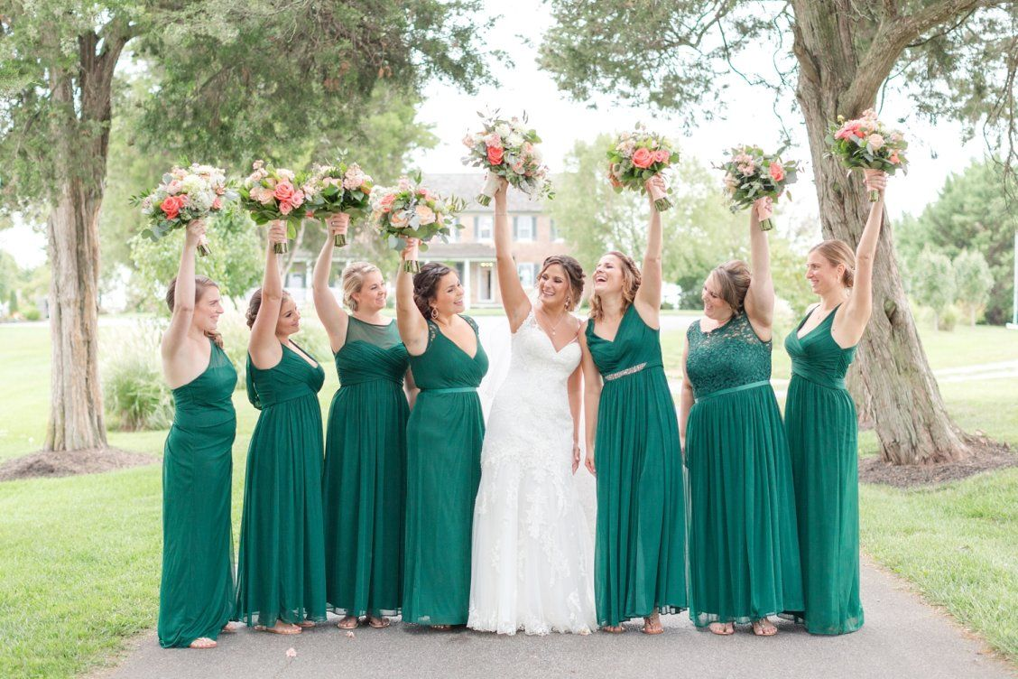 Gregory rebecca walkers overlook in walkersville md davids bridal bridesmaids in lace and mesh bridesmaid dresses in a deep green shade ombrellifo Images