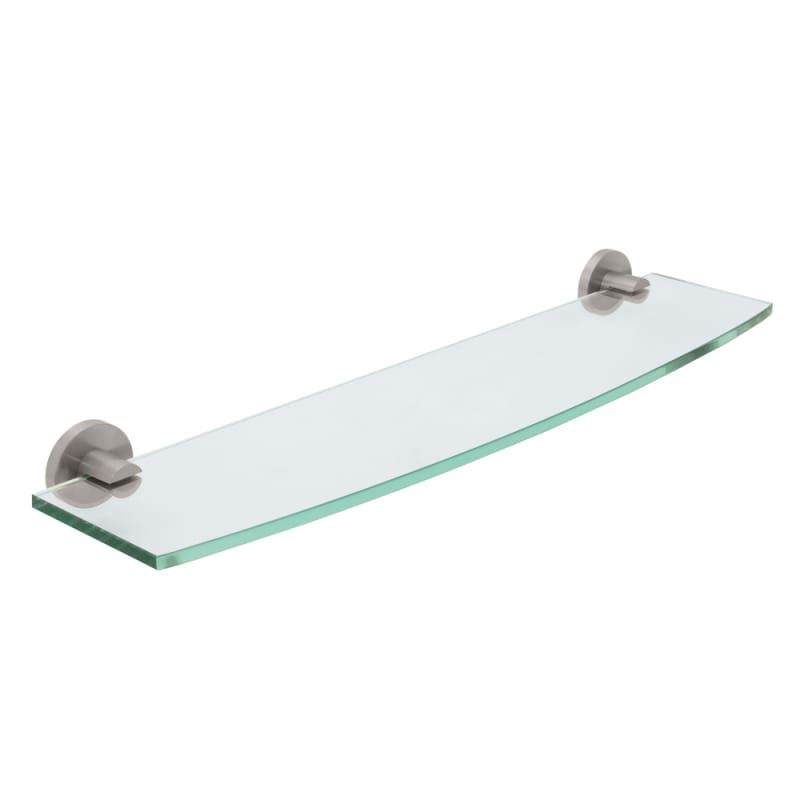 Gatco 4696 Channel 20 Inch Tempered Curved Glass Shelf Satin Nickel