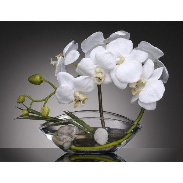 Barque 9 Orchidees Blanches Belles Plantes Artificielles