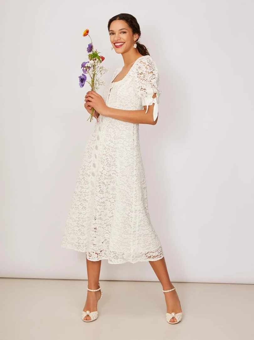 Your Wedding Planned To Perfection Lace Midi Dress White Lace Midi Dress Midi Wedding Dress [ 1083 x 810 Pixel ]