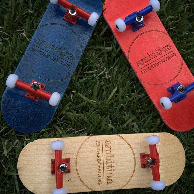 """""""This is #certifiedpopcrazy. Check out our #pocketpop series in #red, #blue and #natural with all new #colored #trucks. #ambition #fingerboarding…"""""""