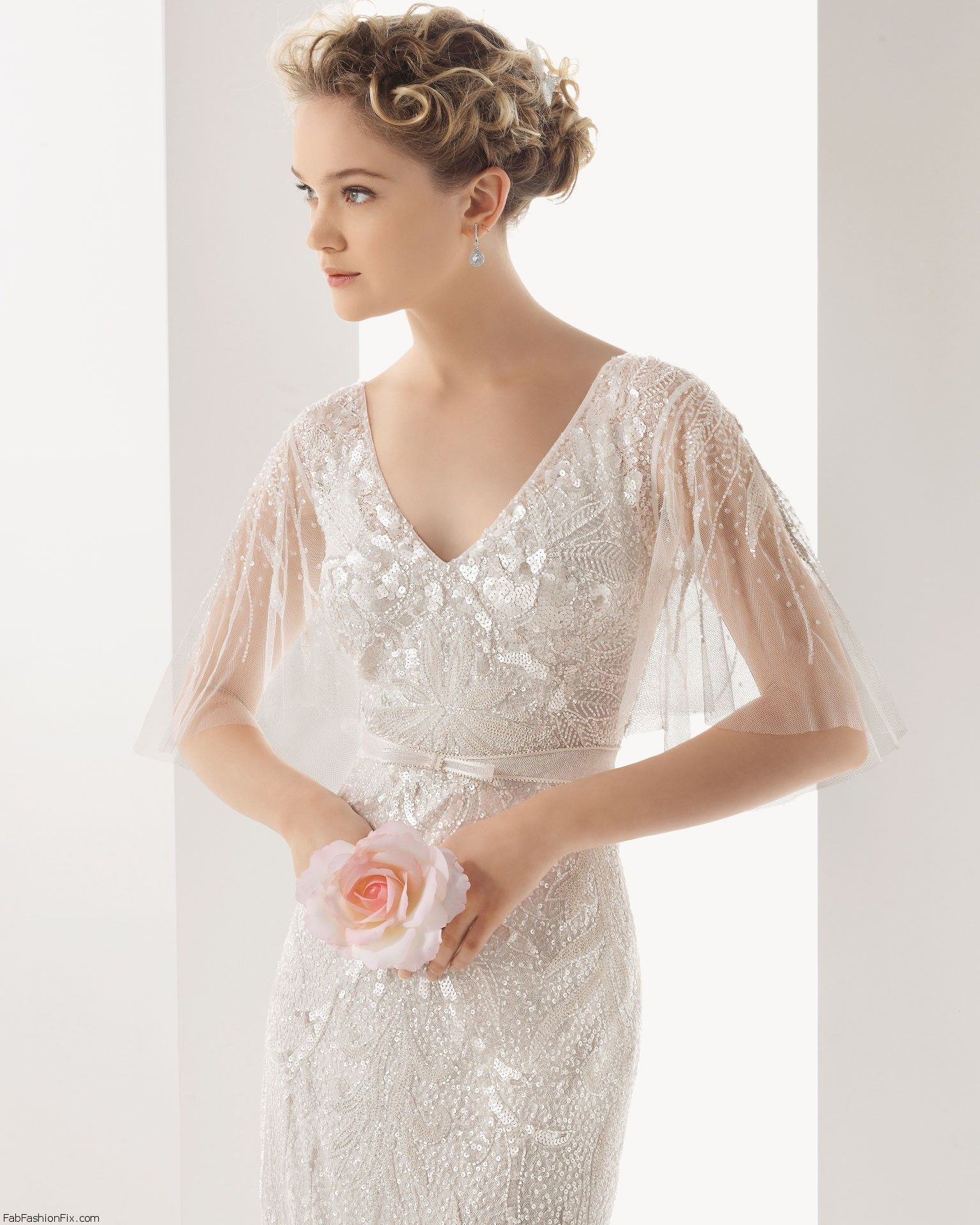 Rosa Clara 2014 - Sequin Cape Sleeve Wedding Dress | Susanna\'s ...