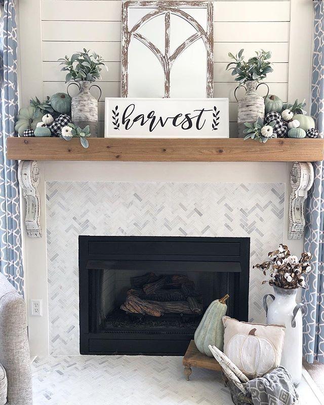 Fall Fireplace With Buffalo Check And Sage Green Pumpkins