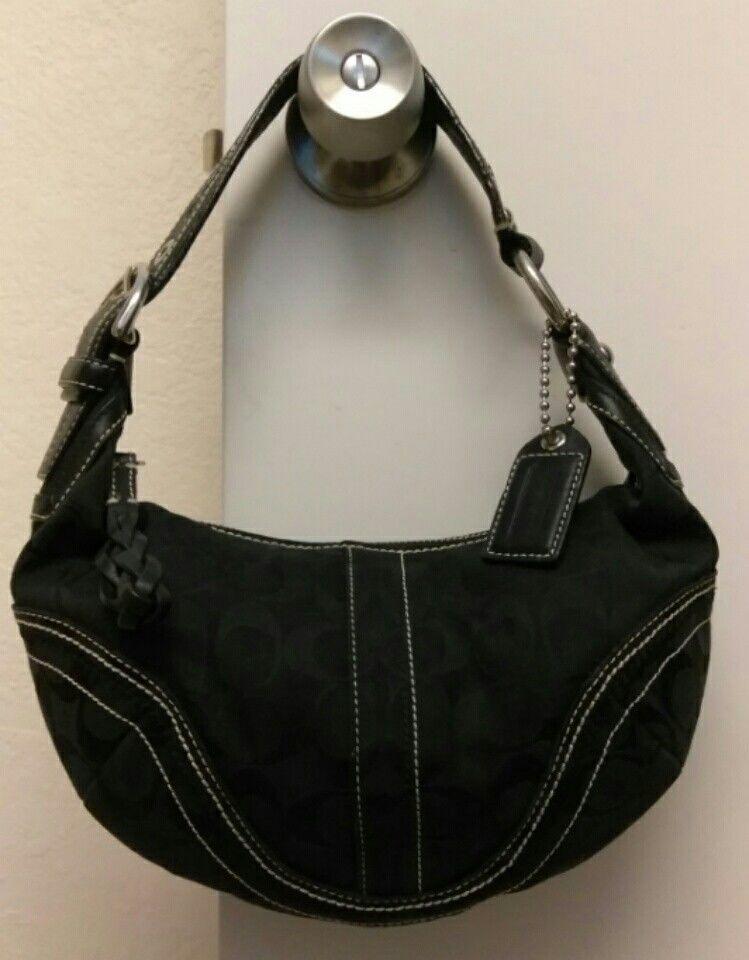 Preowned Coach Soho K0668-10599 Black on black Signature Small Hobo  Shoulder Bag  4b21082a471a9