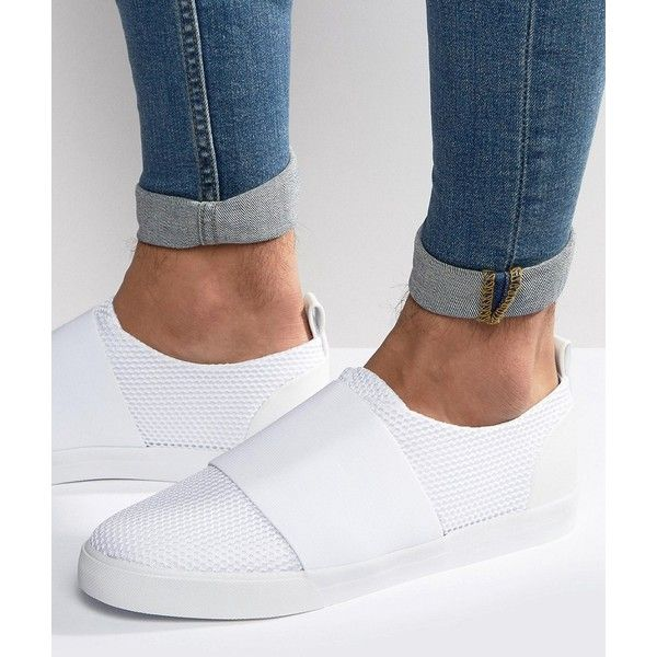 ASOS Slip On Sneakers in White Mesh With Elastic Strap ($34) ❤ liked on