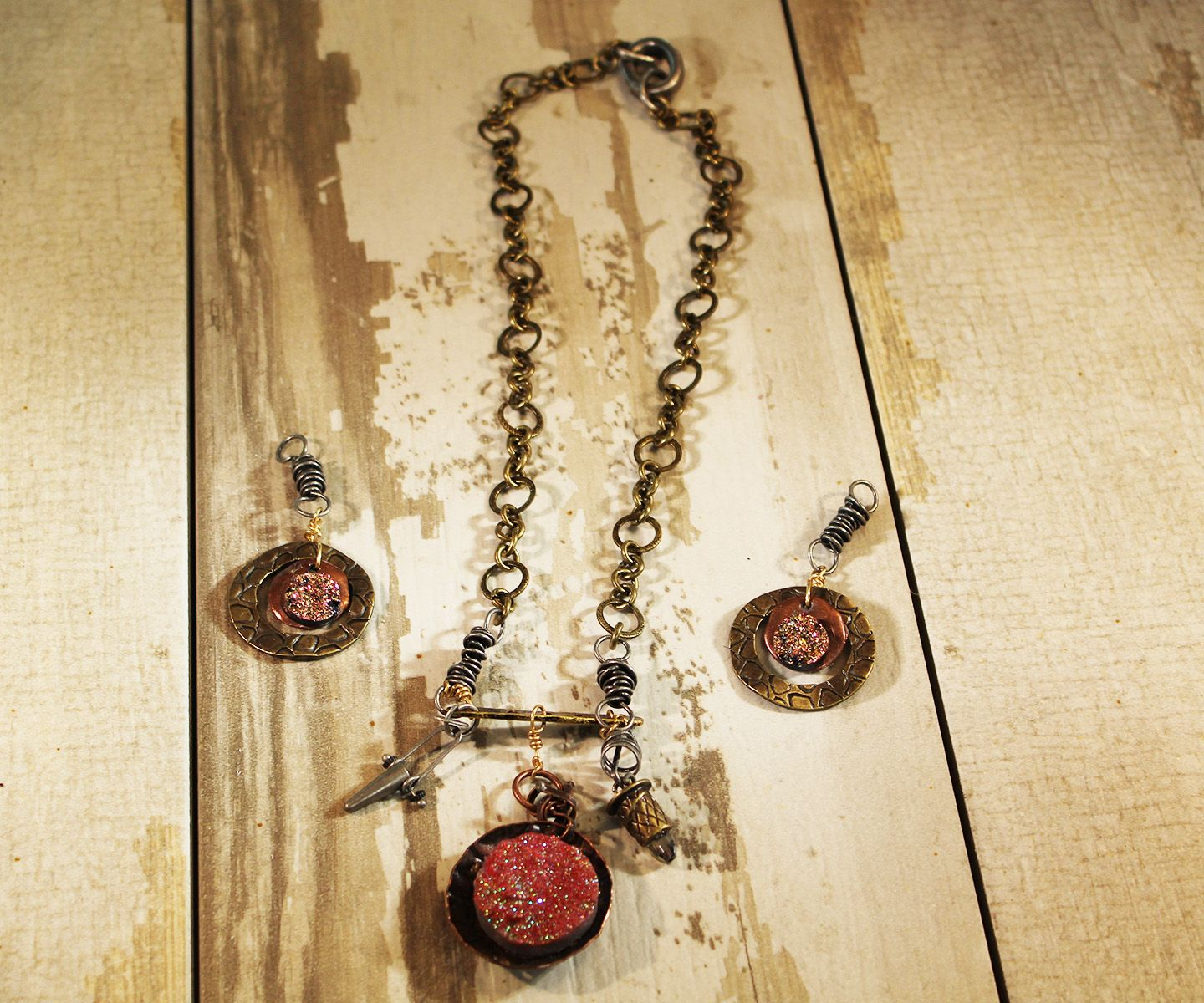 Industrial Inspired Chic Dizzy for Druzy Necklace and Earrings. see more at: http://www.beadelish.com