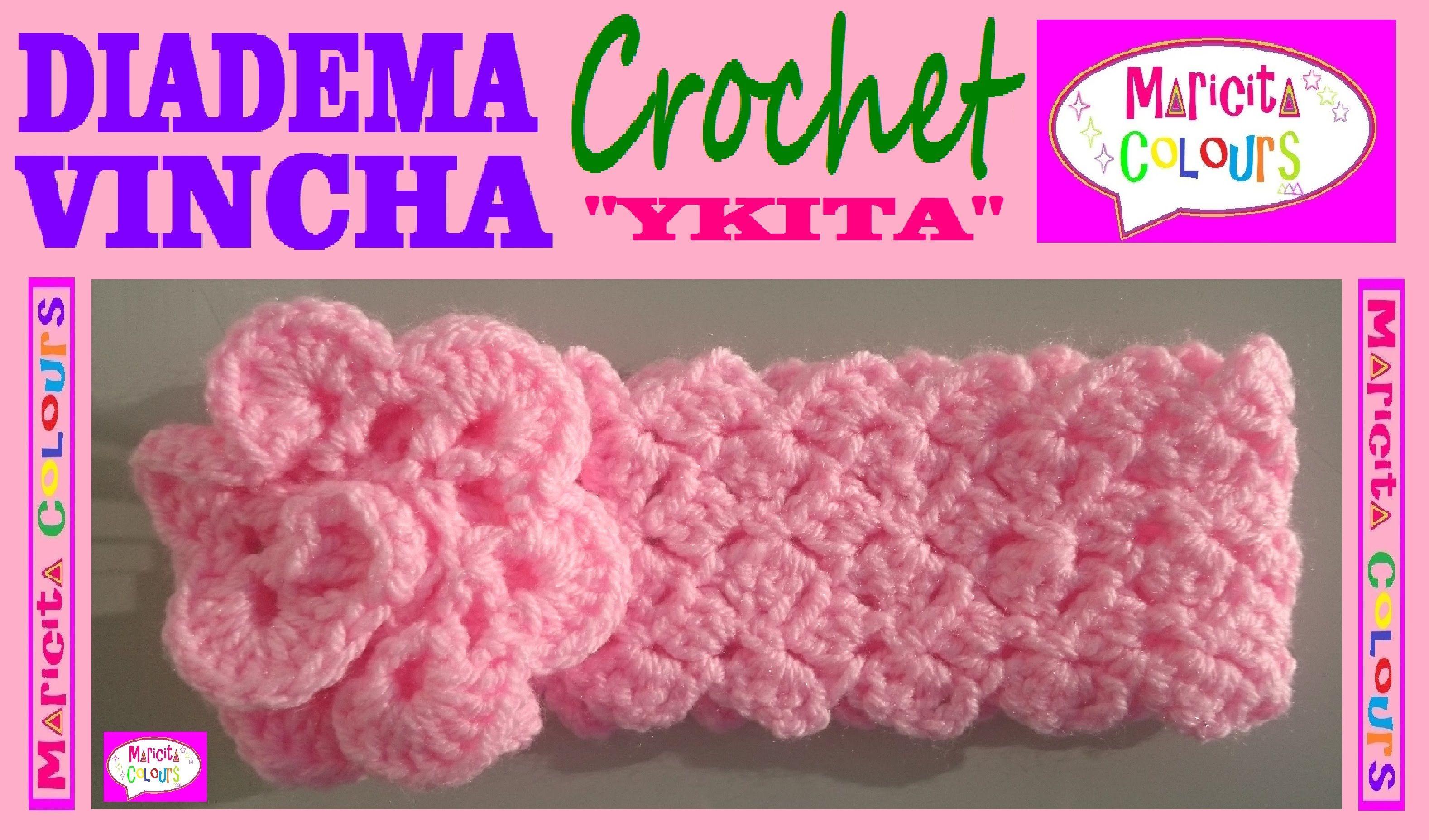 """Vincha a Crochet Diadema """"Ykita"""" Tutorial por Maricita Colours Subtitles..."""