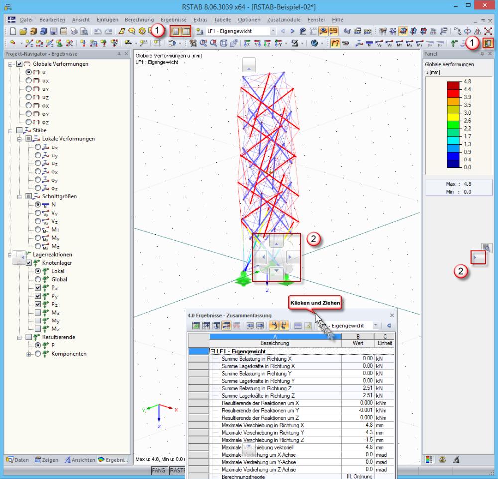 Anordnung von Projekt-Navigator, Tabelle und Panel   https://www ...