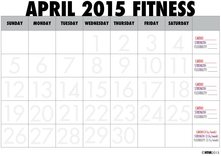 printable workout calendar 2015