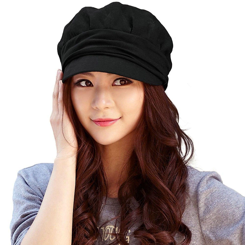 Womens Newsboy Cabbie Beret Cap Cloche Cotton Painter Visor Hats Summer -  66137 black - CR128KS0VQD - Hats   Caps ec5914e2151