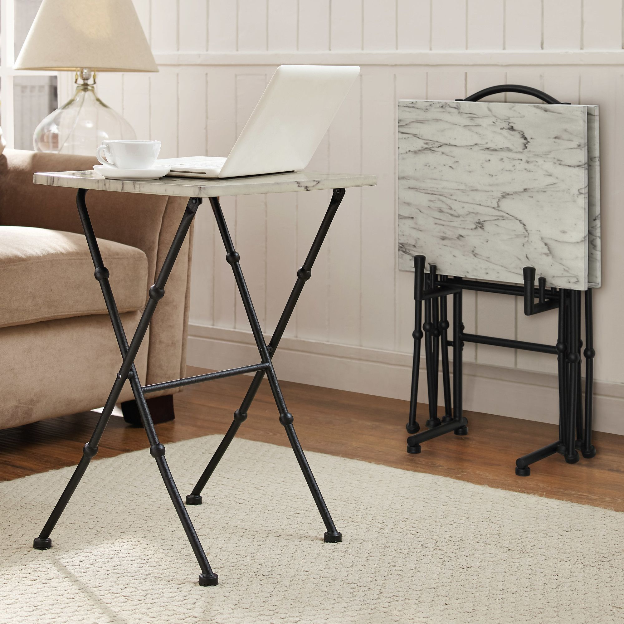 Ordinaire Burnside 4 Piece Marble Tray Table Set