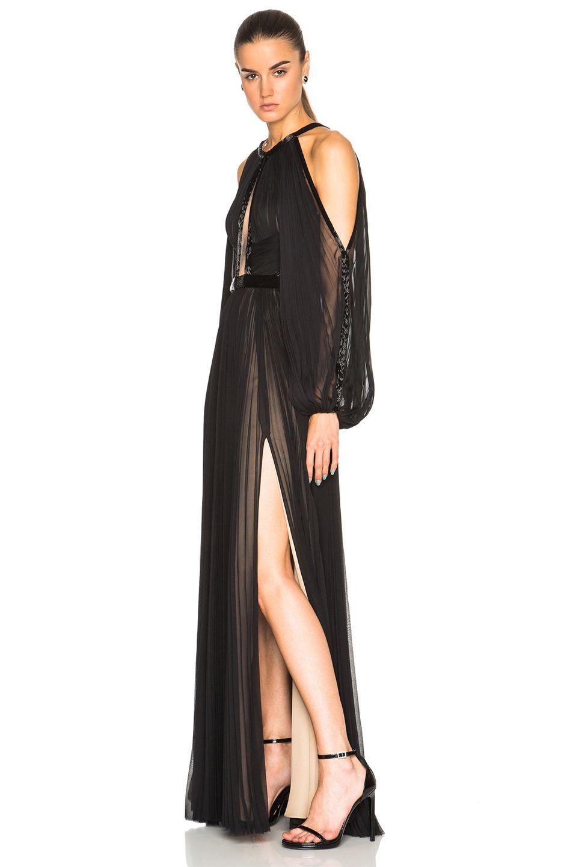 Image of j mendel silk chiffon halterneck long sleeve gown in