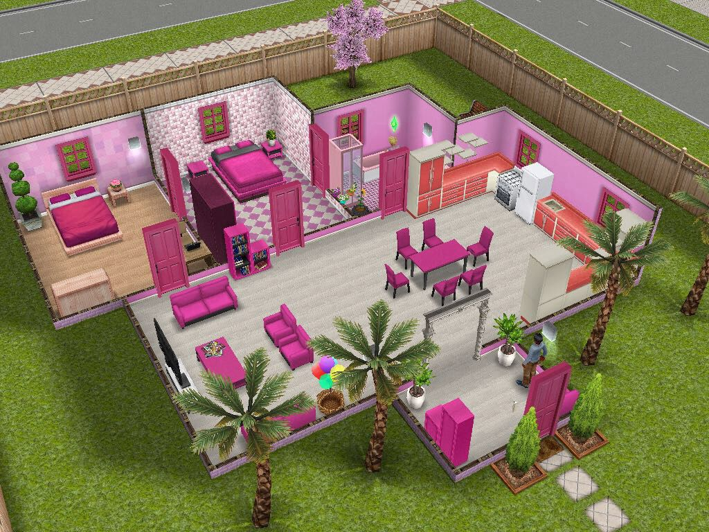 Pink theme inspired sims freeplay house idea sims for Sims 3 spielideen