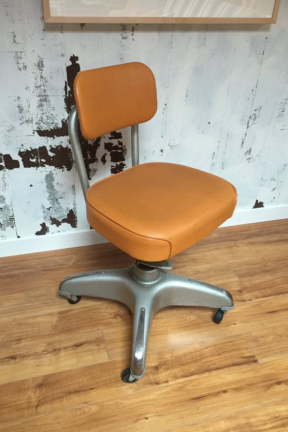Original Vintage Mid Century Modern Industrial Orange Office Task Chair MCM  1950s