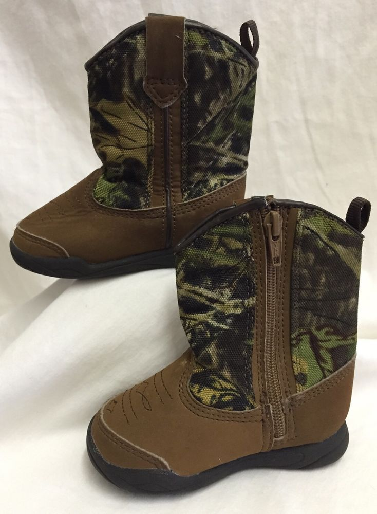 fe7f0d588adc4 Camo Cowboy Boots Brown Halloween Costume Baby Infant Size 3 Boy Girl Mossy  Oak #FadedGlory #Boots #EverydayHalloween