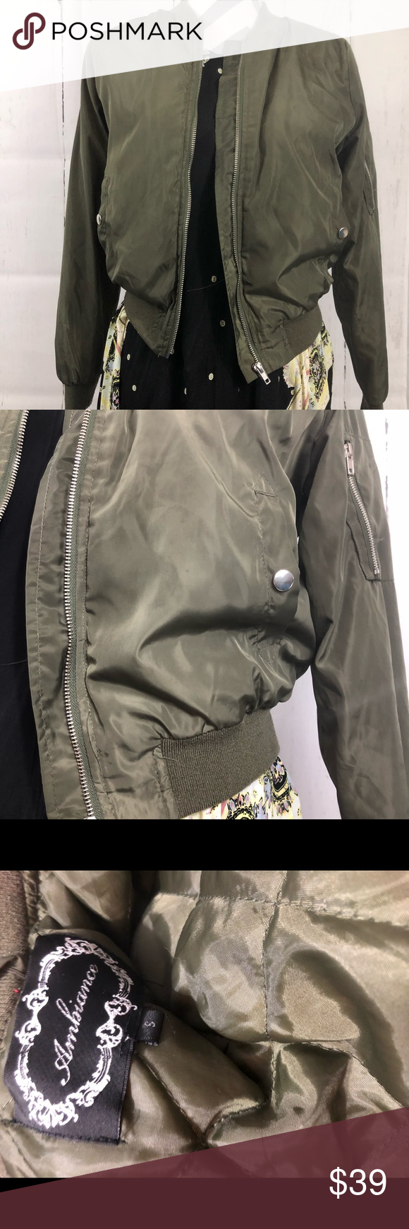 Olive Green Ambiance Bomber Jacket Olive Green Jacket With Sheen New Without Tags Condition Ambiance Brand Wom Olive Green Jacket Green Jacket Clothes Design [ 1740 x 580 Pixel ]