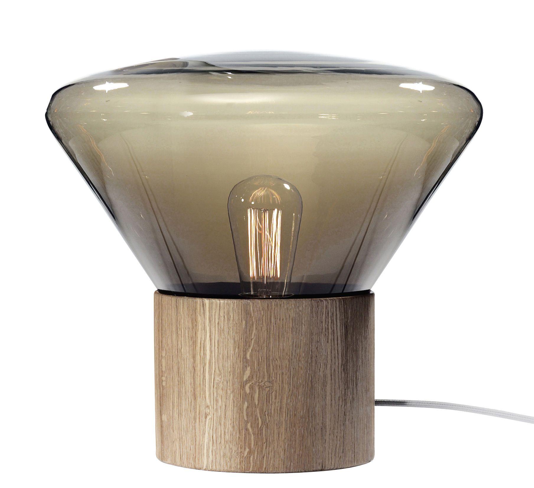 Luminaire Lampes De Table Lampe De Table Medium H 34 Cm Brokis Verre Marron Fume Chene Verre Souffle Lampes De Table Lamp Lampes Modernes