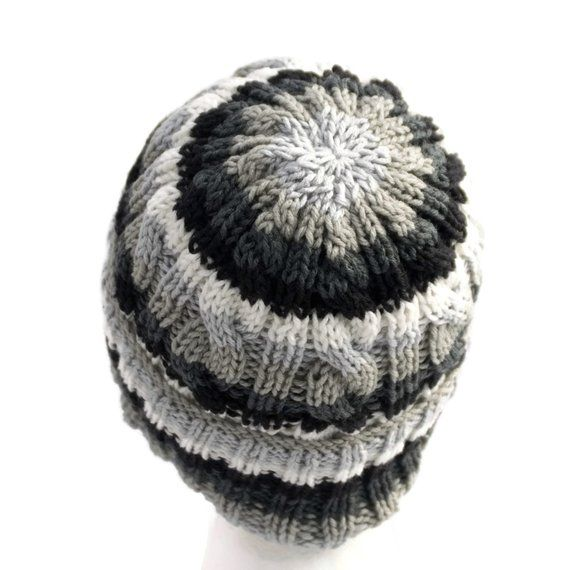 Striped Beanie with Optional Satin Lining Non Wool Knit Hat  719d2136d5c
