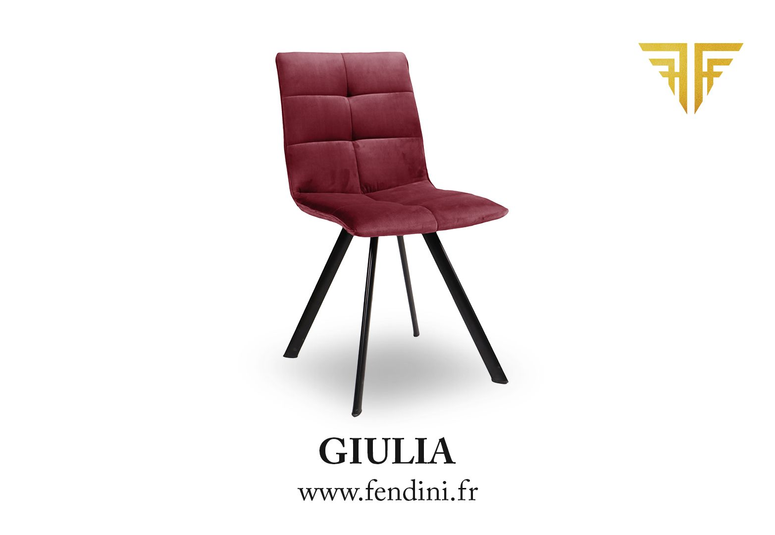 Chaise Velours Giulia Rouge Bordeaux By Fendini Disponible En