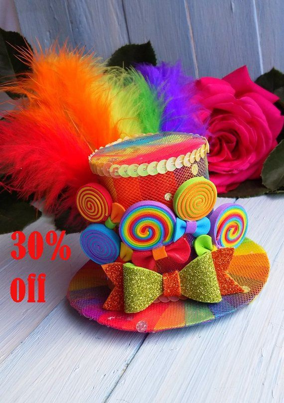 Mini Top Hat Headband Rainbow Mini Top Hat Mad Hatter Hat Tea Party Hat  Alice in Wonderland Hat Fasc 2107d8f1f0fd