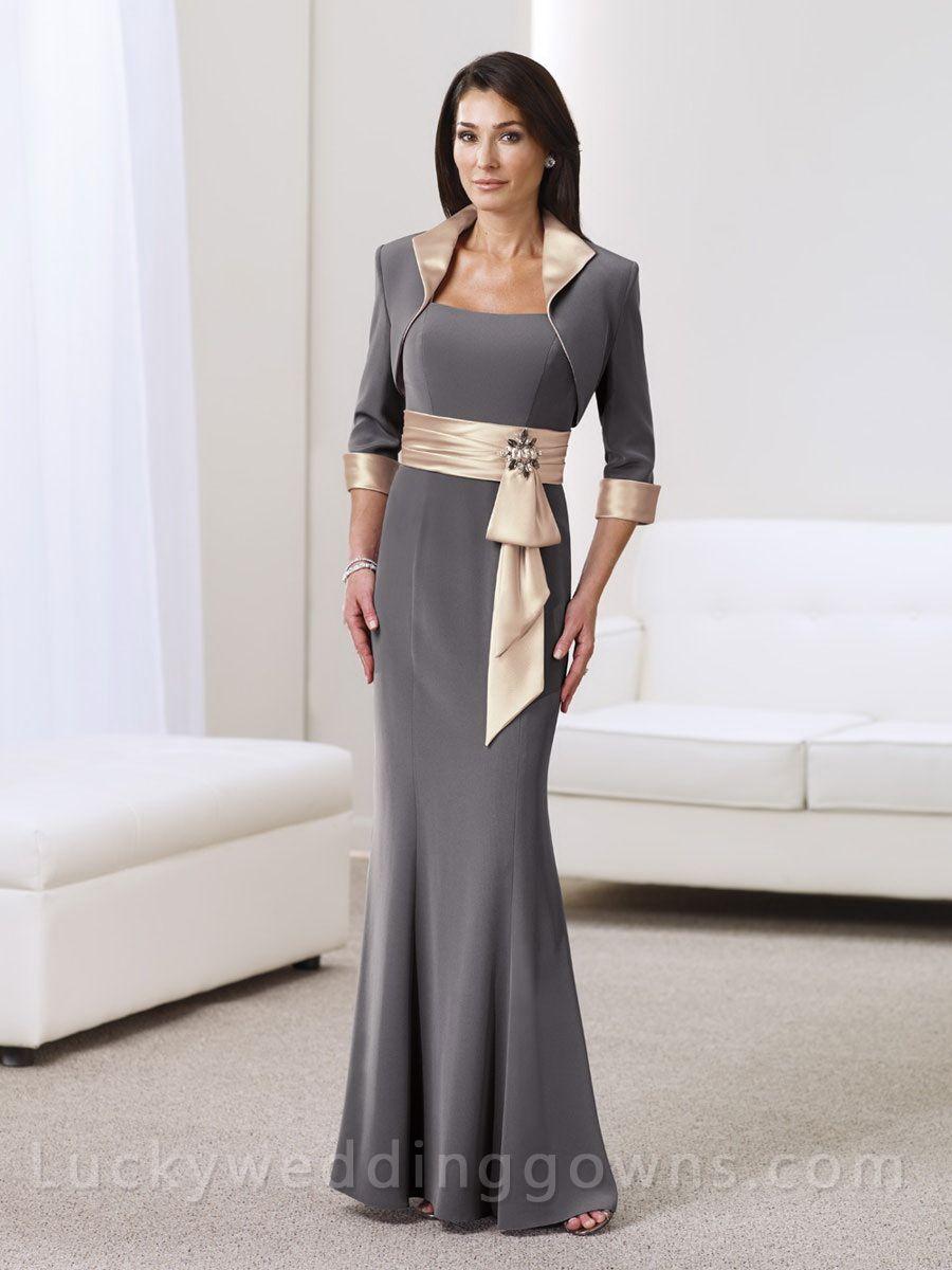 Two-piece 3/4 Sleeves Floor Length Mermaid Mother Dress Suit ...