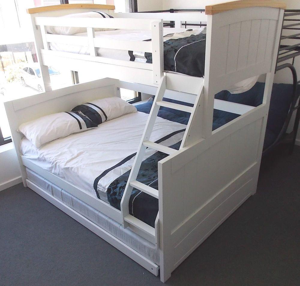 BONDI SINGLE DOUBLE TRIO BUNK WHITE BED & TRUNDLE TIMBER