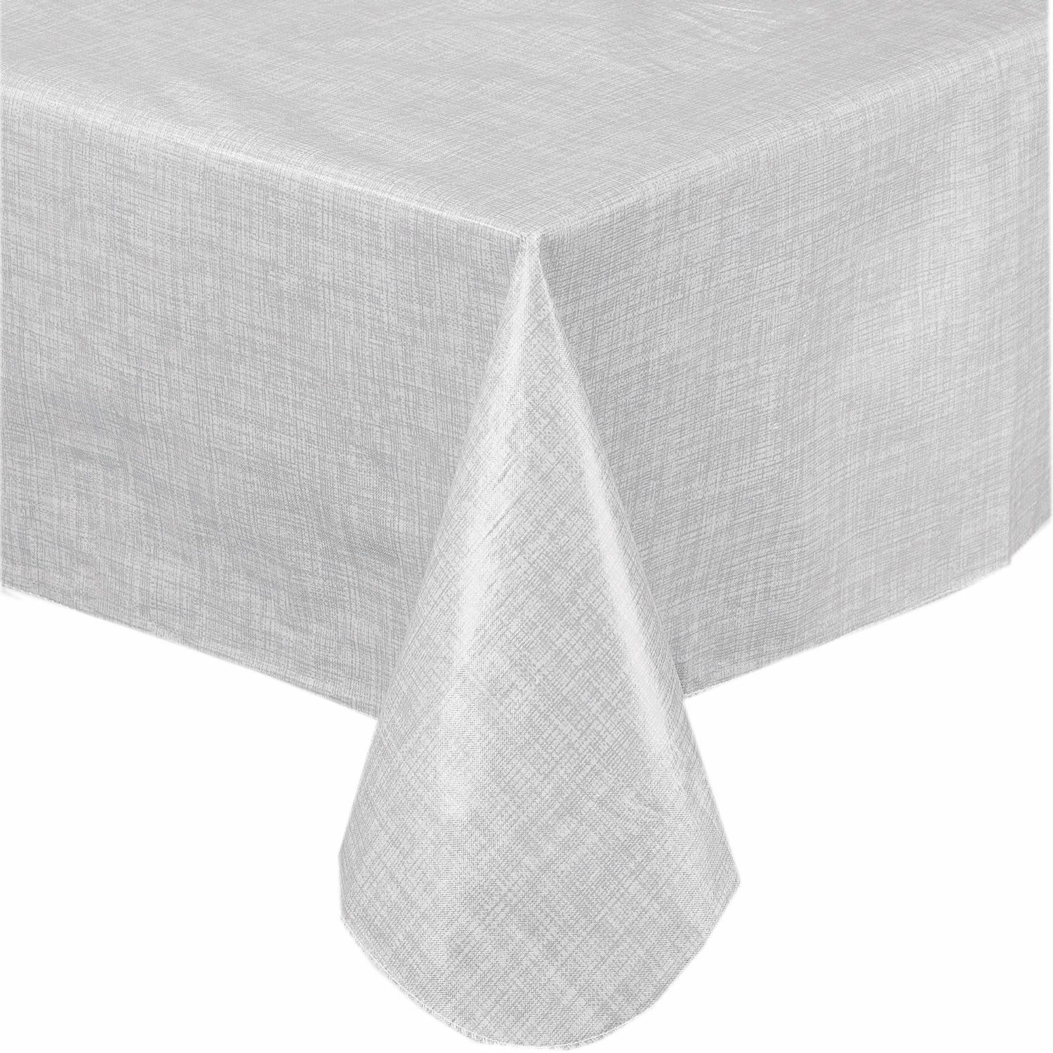 Amazon.com: Premium Solid Color Vinyl Flannel Backed Tablecloth 70 Inch  Round   White: Kitchen U0026 Dining