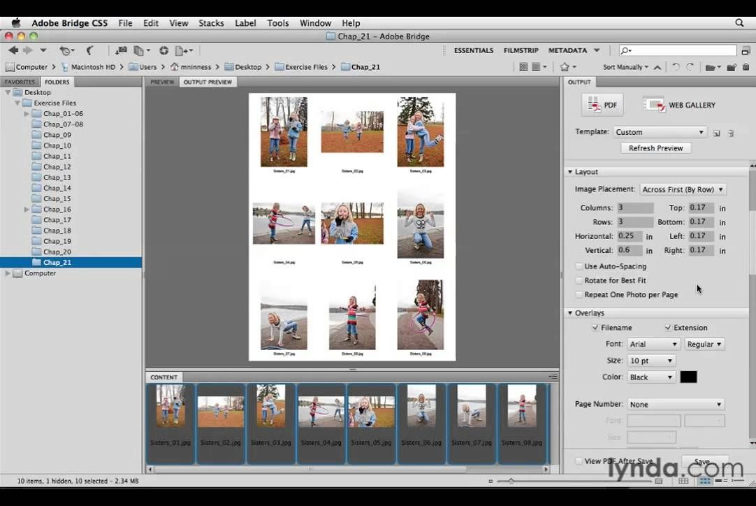 How to Create a contact sheet in Photoshop CS5 (via Adobe Bridge CS5 ...